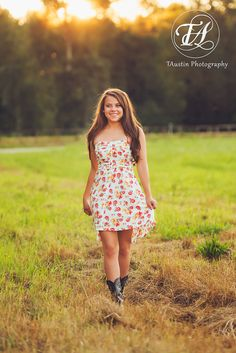 Senior Photos with cute summer dress and cowboy boots at sunset