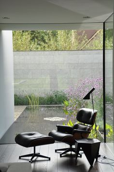 House VGL Belgium - reading corner with Eames lounge chair by vlj-architecten