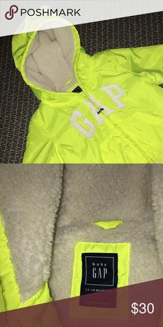 094d77ecdaa4 Shearling Lined Jacket Neon green jacket coat from Baby Gap. Worn maybe 3  times