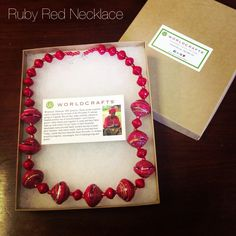 @WorldCrafts {Ruby Red Necklace ~ Proverbs 31 ~ Uganda} Multisized ruby red beads handcrafted by Proverbs 31 women make a beautiful necklace. The talented (and mostly widowed and HIV-positive) artisans in Proverbs 31 use beautifully disguised recycled paper to make their crafts not only eco-friendly but highly affordable as well. Measures 22 inches and is packaged in a WorldCrafts jewelry box. #fairtrade #set1free
