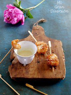 Unas brochetas fáciles de hacer y con un toque de sabor caribeño, ideal para tapear y compartir en una cena de amigos.              Ingredi...