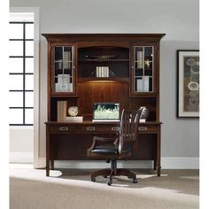 The Latitude hutch and desk set is constructed with Hardwood Solids and Walnut Veneers. Hutch features three lights on top and a task light. Desk features a power bar with two electrical outlets. phone jack high speed data ports and USB upstrea. Hooker Furniture, Home Office Furniture, Laptop Desk For Bed, Desk Hutch, Selling Furniture, Task Lighting, Work Desk, Desk Set, Interior Design Services