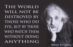 .el mundo no será destruido por los que hacen el mal, sino por aquellos que los miran sin hacer nada