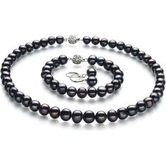 8-9mm Black Freshwater Cultured Pearl Kaitlyn Jewelry Set This gorgeous Kaitlyn black jewelry set is created from genuine A quality freshwater cultured pearls. Featuring very nice medium luster black pearl naturally beautiful off round A shape and baroque body. This set consists of a beautiful 8 to 9mm black cultured pearl necklace measures 46 centimeters accompanied by a matching cultured pearl bracelet and a pair of sterling silver lever back post mounted cultured pearl earrings. This…