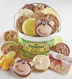 Go Bananas on Your Birthday Cookie Pail   Birthday Gift Ideas   Cheryls.com   A special birthday treat complete with a tasty assortment of Cheryl's cookies delivered in a shiny silver pail. 15% of the Net Proceeds from the sale of this product will benefit The Columbus Zoo.