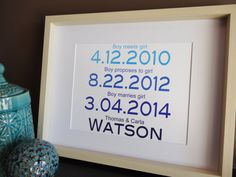 Personalized Family Print Important dates Bridal by MDesignCompany.  Buy now: etsy.com/shop/MDesignCompany