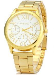 c7266e44103 Geneva P07 Relógio de Quartzo com Caixa Dourado Pulseira de Aço Inoxidável  para Masculino Pulseira De
