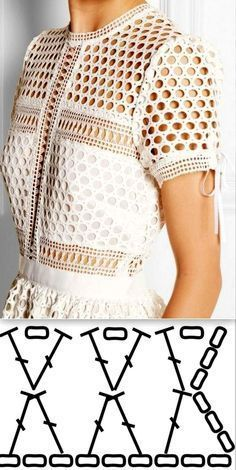 Image of white crochet top - chart Image only of mesh top with short sleves Crochet Dress Dishcloth Pattern Fashion Show Dress Drop Hot 39 Blouses Cardigans To Inspire Every Girl - Ladies Shoes - Dantel Modelleri Crochet Patterns Jacket The photo Pull Crochet, Gilet Crochet, Mode Crochet, Crochet Cardigan, Crochet Shawl, Crochet Lace, Crochet Tops, Crochet Stitches, Crochet Afgans