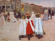 Breitner, Drie schoolmeisjes op de brug bij de Westermarkt, 1895. Particuliere collectie