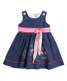 Look what I found on #zulily! Navy & Pink Bow-Tie Accent Corduroy Dress - Toddler & Girls #zulilyfinds