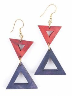 Triangle Point earrings red by Mata Traders