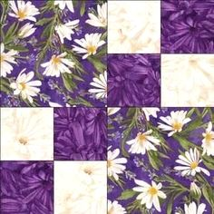 Sewing Block Quilts Image detail for -Purple White Daisy Floral Fabric Pre Cut Quilt Block Kit Simple . Quilting For Beginners, Quilting Tutorials, Quilting Projects, Quilting Designs, Quilting Ideas, Lap Quilts, Scrappy Quilts, Mini Quilts, Quilt Block Patterns