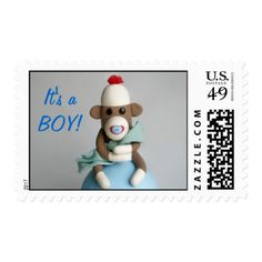 """""""It's a BOY!"""" Baby Sock Monkey Announcement Postage Stamp"""