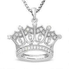 Sterling Silver Crown Pendant with Diamond Accents - Zales Looks quite obnoxious but cute for a teenager :) Diamond Jewelry, Silver Jewelry, Fine Jewelry, Unique Jewelry, Gold Jewellery, Cross Jewelry, Metal Jewelry, Silver Ring, Jewelry Box