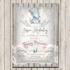 Elephant Baby Shower Invitation Rustic Baby by WallflowerEvents #elephant #babyshower