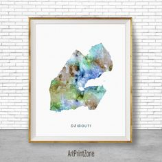 Guinea Art Watercolor Map Office Wall Decor Living Room Print Zone