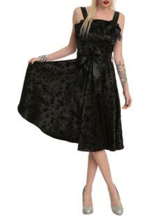 Hell Bunny Black Tattoo Flocked Dress