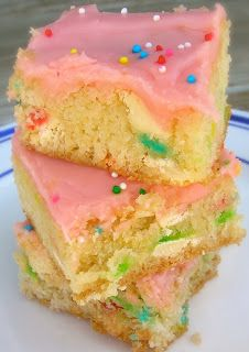 Cake Batter Blondies Recipe with simple pink frosting from SixSistersStuff.com