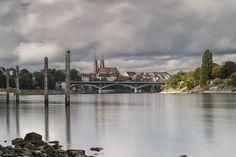 Rhein bei Basel, Schweiz Basel, Seattle Skyline, Long Exposure, Switzerland