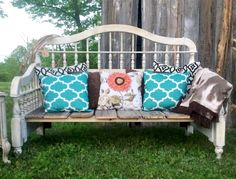 I made this DIY Headboard Upcycled Bench from an old headboard and an old door. It was simple to make and I love the rusty finish! I am hearing the full tut