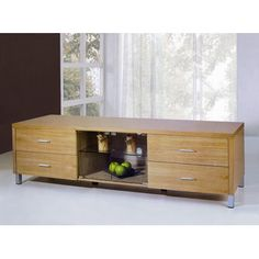 Beverly Hills Furniture Nero Four Drawer TV Stand with Glass Door in Natural Oak