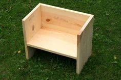 This flip seat is a favorite for kids because it has a low seat, a high seat, can be pushed around and used as a table. This project can be made from scraps or from discount boards (cheap project!) and has only straight cuts that can be done with a hand saw or chop saw. It can easily be adapted for bigger kids.