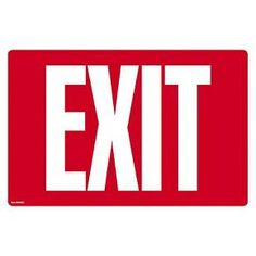 COSCO Glow - in - the - Dark Safety Sign - Exit - 12 x 8 - Red : Target