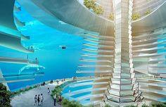 Parte da cidade flutuante chinesa ficará submersa na água (Foto: Divulgação)