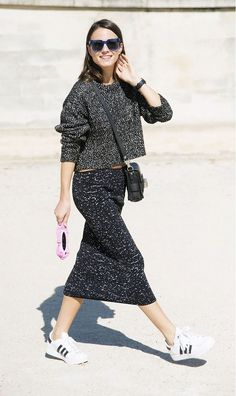 sneakers and knit skirt via @WhoWhatWear