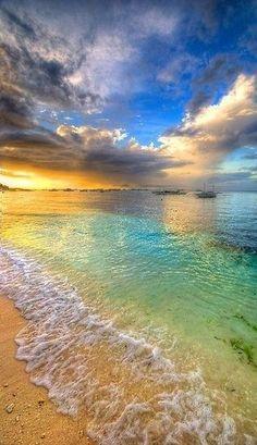 sunset by the beautiful sea