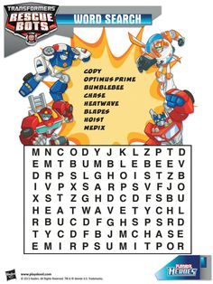 Can you find the names of all of your  favorite Transformers Rescue Bots? Playskool, Word Search, Activity, Kids