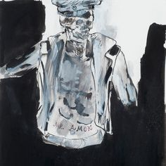 Leon Golub perceived his drawings as individual works, and not necessarily working studies. However, the skeletal police officer of 'Mr Amok' is a rare example of an early drawing which inspired the composition and subject of a large-scale painting. Its subject matter represents his lifelong concerns about the misuse of power which appeared most prominently in his paintings from the 1980s depicting mercenaries, soldiers and police squads. Mr Amok, 1994 Acrylic and ink on paper 25.5 x 20 cm…