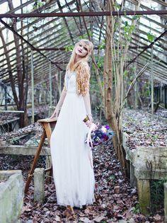 Moody Entomology Wedding Inspiration in an Abandoned Greenhouse | Green Wedding Shoes Wedding Blog | Wedding Trends for Stylish + Creative Brides