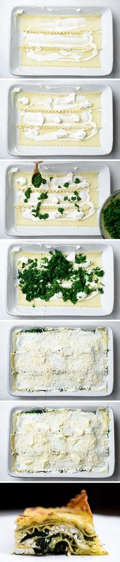 For this vegetarian lasagna, some of the cooked broccoli rabe is puréed to make a garlicky pesto and the rest is coarsely chopped and added to the layers. (Photos: Karsten Moran for The New York Times)