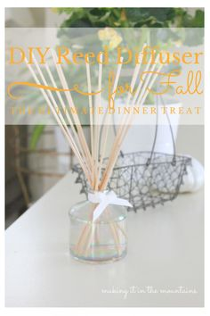Cozy up your Home with this DIY Reed Diffuser Perfect for Fall - Making it in the Mountains See how I made this super simple reed diffuser to fill my home with a beautiful Fall scent! Decor Crafts, Diy Home Decor, Diy And Crafts, Homemade Reed Diffuser, Diffuser Diy, Do It Yourself Projects, Make It Yourself, Stem Challenge, Fall Pillows