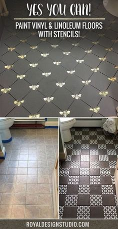 YES You CAN Paint Vinyl & Linoleum Floors with Stencils! Check out these 8 DIY decor ideas using Royal Design Studio Floor Stencils and Annie Sloan Chalk Paint decor diy stencils YES You CAN Paint Vinyl & Linoleum Floors with Stencils! Linoleum Flooring, Diy Flooring, Bathroom Flooring, Painting Linoleum Floors, Vinyl Linoleum, Cheap Flooring Ideas, Bathroom Lino, Kitchen Floors, Plywood Floors
