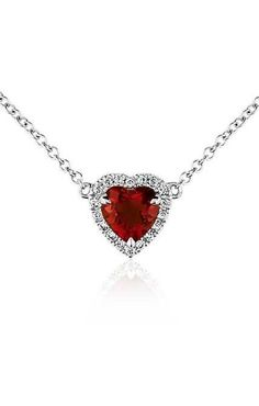 #ValentinesDay is around the corner! This heart-shaped pendant showcases a rich garnet framed by micropavé diamonds.