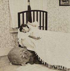 1920s BOOGIE MAN child & goblins bedtime DROP CARD series of 15 stereoviews