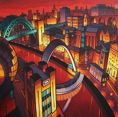 The favourite of all my prints. The composition captures the best of Newcastle and Gateshead. The rich red sky and river were inspired by the reflective glow on the clouds from the city lights, that you sometimes see down the Quayside Sage Gateshead, Newcastle Gateshead, Farne Islands, Angel Of The North, Unique Buildings, Art For Art Sake, Landscape Illustration, London City, Limited Edition Prints