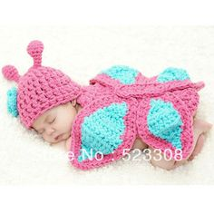 New Born Baby Girl Clothes Romper Butterfly Design Knit Photo Prop Outfits 18497
