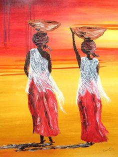 schilderijen van afrikaanse vrouwen - Google zoeken African Drawings, Art Painting, Funny Paintings, Lovers Art, American Fine Art, Culture Art, African Art, Canvas Art, Africa Art