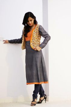 CR1311248 - Gray 47 inches yoke style kurta with yoke in orange & green color. It has a floral west chest size is 34 inches.