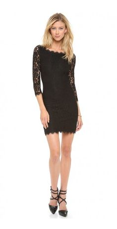 ZARITA LACE DRESS $87.31 A demure DVF sheath dress with timeless appeal, cut from creamy lace and finished with scalloped edges. The flattering wide neckline dips into a V in the back, which fastens with an exposed, extended two-way zip. Sheer 3/4 sleeves. Lined in tonal jersey.