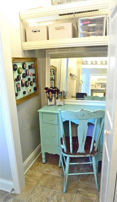 """Turn a small closet into a  """"beauty"""" room!  Ummmm yess please!!! I don't think I have a big enough closet for all my stuff!!!! But I want this!!!"""