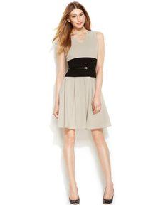 Calvin Klein Petite Sleeveless Colorblock Belted Dress http://picvpic.com/women-dresses-cocktail-party-dresses/calvin-klein-petite-sleeveless-colorblock-belted-dress#khaki~black?ref=PCFeTk