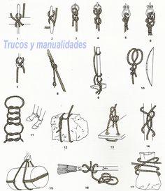 1 sujeción de un cabo a una cabilla, 2 fijación del extremo de un cabo a una cornamusa o a una T, 3 y 4 nudos de sujeción rápida de un cabo a una anilla, barra, estaca, portaequipajes, etc. (medios nudos + cotes), 5 y 6 nudos de sujeción permanente de un cabo a una anilla, 7 manera sencilla y segura de colocar una cuerda en un gancho de izado (inspirado en la vuelta mordida), 8 acolado de dos cabos que trabajan en distintas direcciones, 9 sujeción de objetos en forma de T (vuelta de braza…