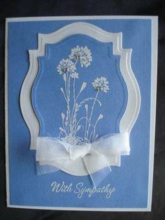 Handmade Sympathy Card Stampin Up Flowers Rhinestones Spellbinders