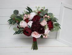 Items similar to Burgundy blush pink bouquet - size Bridal bouquet Faux bouquet Wedding flowers Eucalyptus on Etsy Green And Burgundy Wedding, Burgundy And Blush Wedding, Burgundy Bouquet, Blush Bouquet, Burgundy Flowers, Blush Pink, Purple Wedding, Fake Wedding Flowers, Fall Wedding Bouquets
