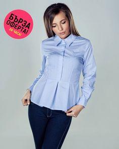 Дамска риза Emily #Efrea #Ефреа #online #онлайн #пазаруване #дрехи #сако #сиво #риза #синя