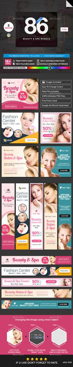 Beauty & Spa Banners Bundle - 5 Sets - 86 Banners Templates PSD. Download here: http://graphicriver.net/item/beauty-spa-banners-bundle-5-sets-86-banners/16445649?ref=ksioks